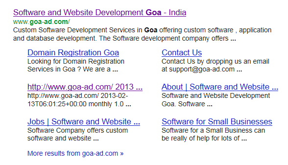 Goa Website Developers in Google