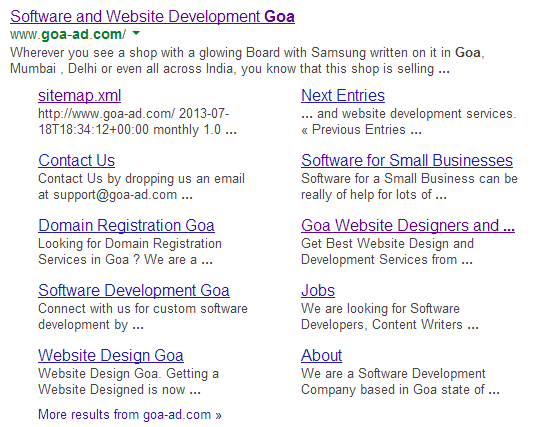 Website of Goa Web Design Company in Google